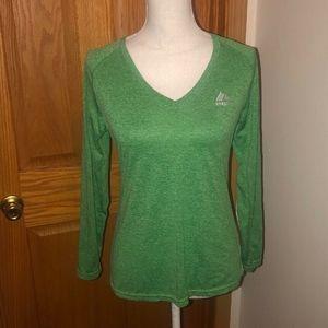 RBX Medium Green Long Sleeve V-Neck Activewear Top